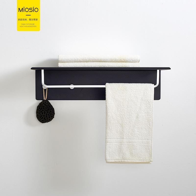 太空铝毛巾架浴室置物架壁挂卫生间浴巾架厕所淋浴房五金挂件黑色