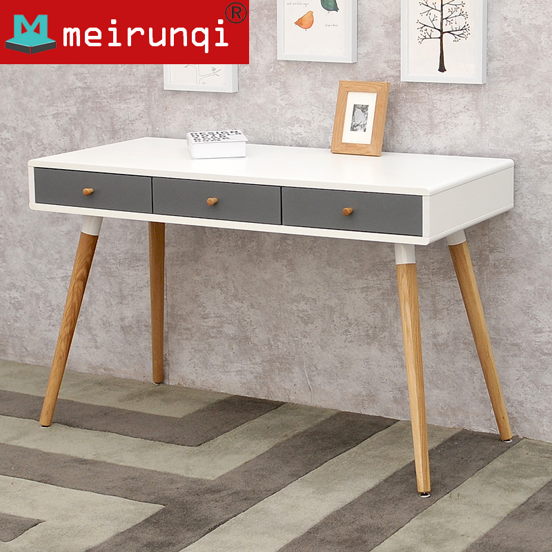 北欧台式电脑桌日式书桌宜家简约实木办公桌美国进口