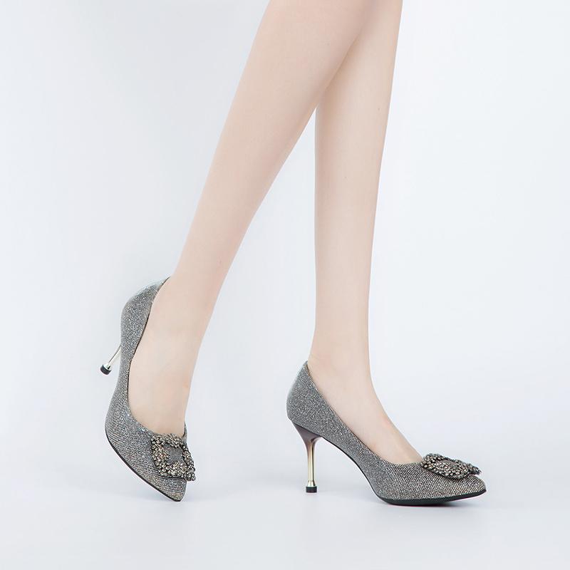 A7428582 秋季新品格力特布面魅力高跟女单鞋 2017 千百度 C.BANNER