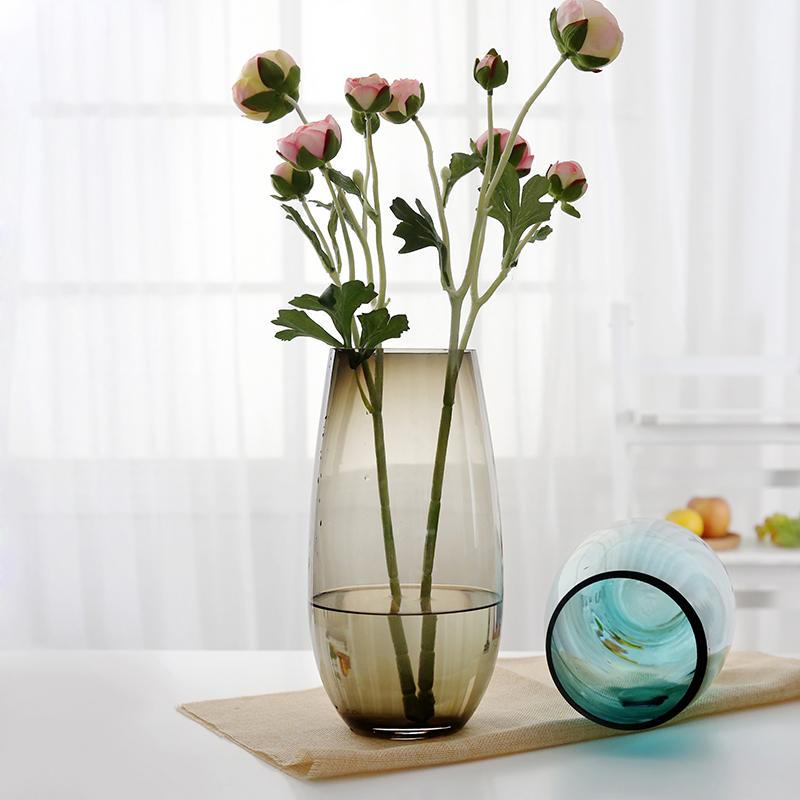欧式彩色玻璃花瓶 透明客厅工艺品家居摆件大号插花