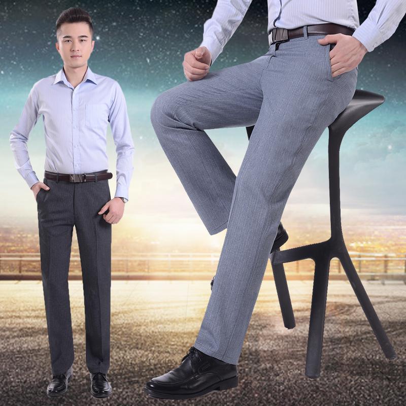 薄款中老年休闲裤男装大码男士高腰长裤爸爸裤中年宽松夏季男裤子