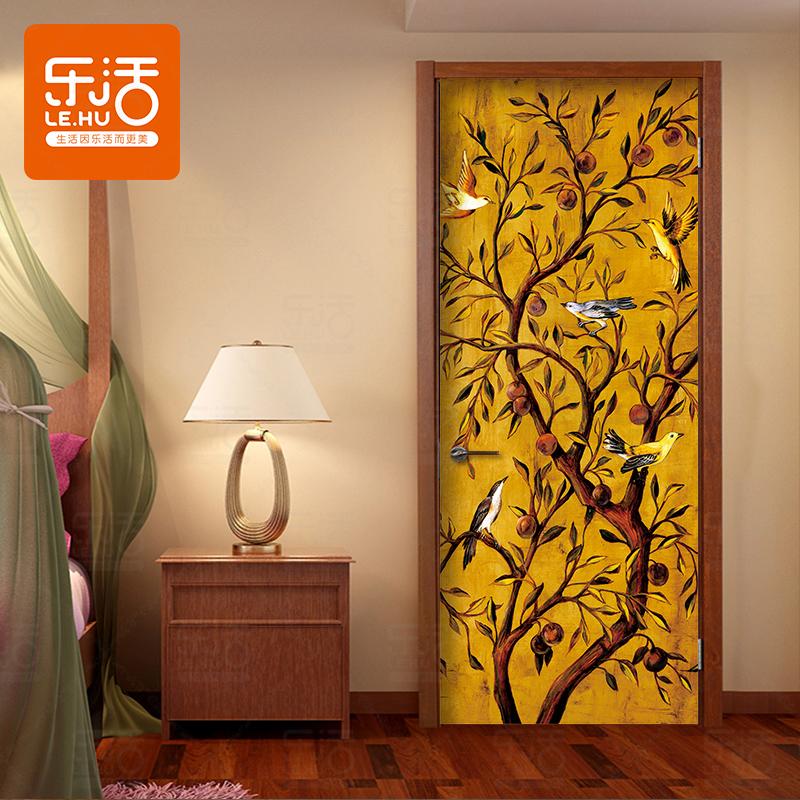 复古静物发财树门贴纸客厅木门翻新创意自粘装饰画防水门贴画卧室图片