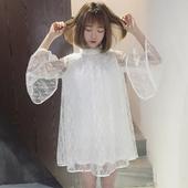 夏装新品韩版日系甜美可爱蝴蝶结喇叭长袖蕾丝连衣裙A字娃娃裙女