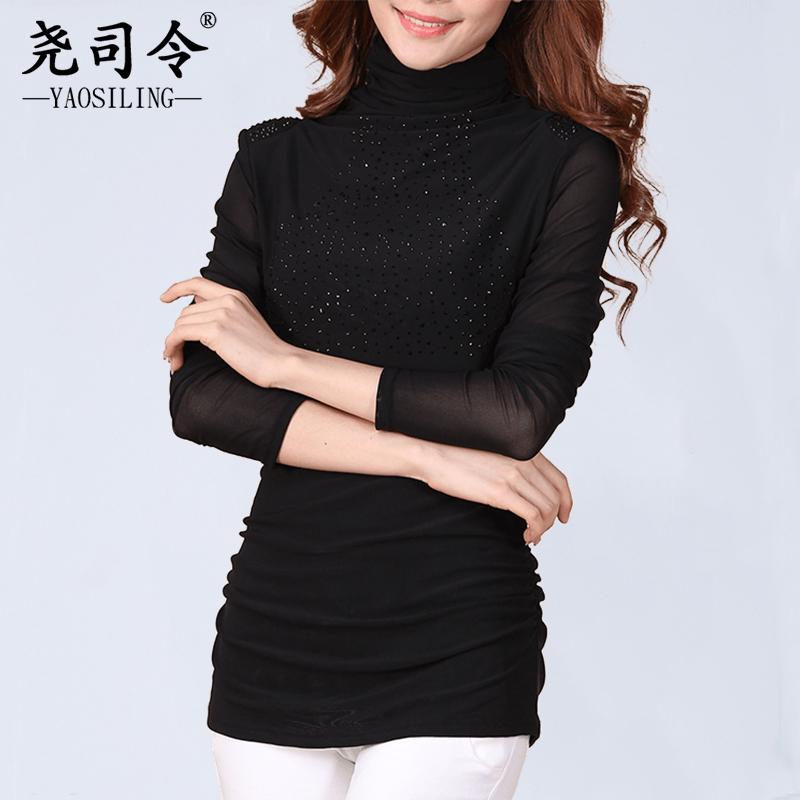 秋季上衣女新款大码高领网纱上衣黑色打底衫女长袖中长款秋冬百搭