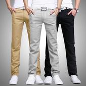 2条装秋季休闲裤男士小直筒韩版修身青少年宽松黑色长裤子男潮流