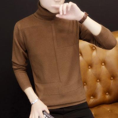 秋冬装新款打底衫男士长袖t恤 潮流韩版修身高领体恤男装毛衣服