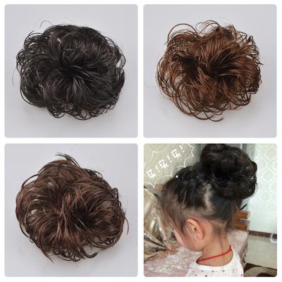 韩国儿童假发头饰丸子头新娘盘头发饰品短卷发圈女孩表演花苞头饰