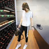 运动套装女 两件套2017春夏新款女装韩版潮t恤休闲裤显瘦时尚套装
