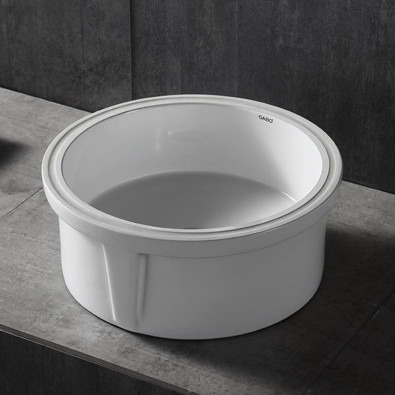 10403 家用面盆圆形卫生间陶瓷盆 新品促销台下盆嵌入式洗脸盆