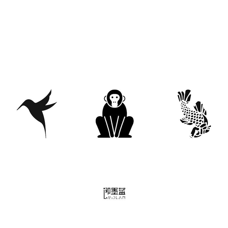 即墨蓝暂时性轻文身半永久小清新模版燕子猴子锦鲤鱼纹身模板图片图片
