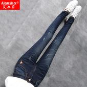 加绒加厚牛仔裤女秋冬季2017新款高腰长裤紧身韩版显瘦小脚女裤子