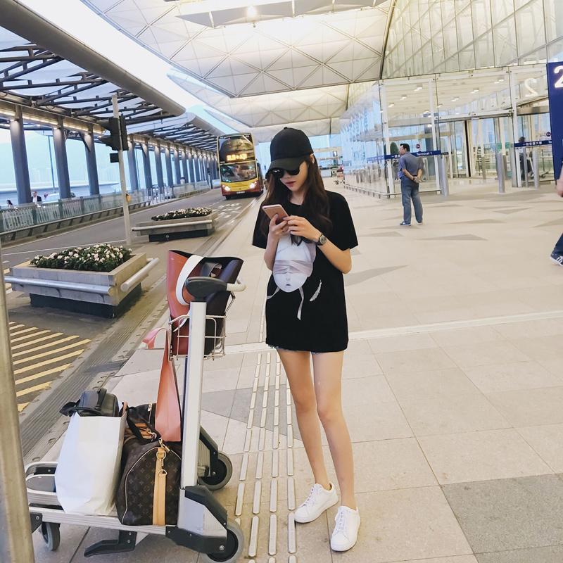 【SASA小姐】定制魔鬼娃娃印花短袖t 圆领中长款T恤女