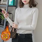 打底衫 半高领修身 紧身长袖 短款 针织衫 加绒加厚套头毛衣女秋冬新款