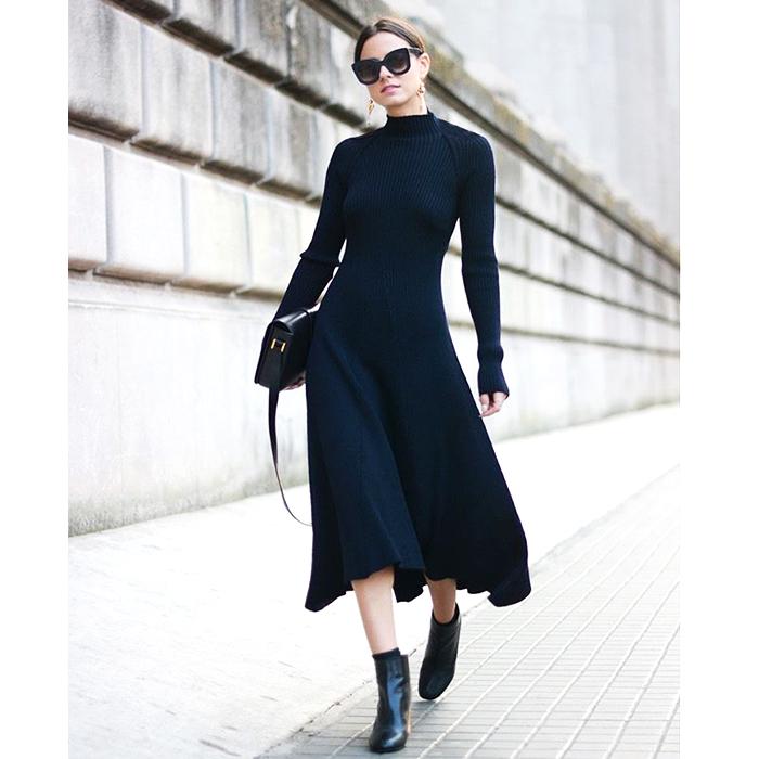 ^@^戎美【QZ1020944】时髦纸片人收腰大摆纯羊毛针织修身连衣裙