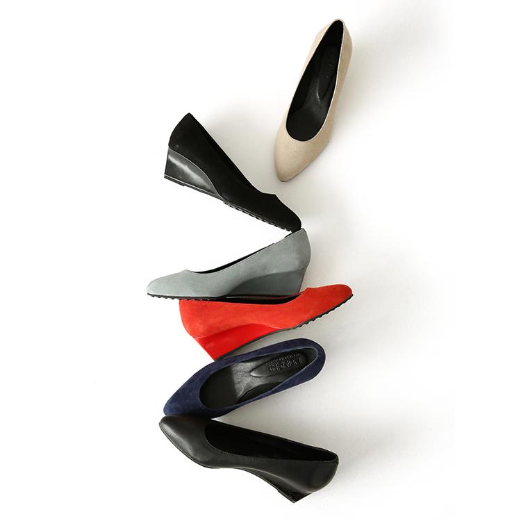 高挑时尚 坡跟羊皮女鞋 豆豆底 尖头