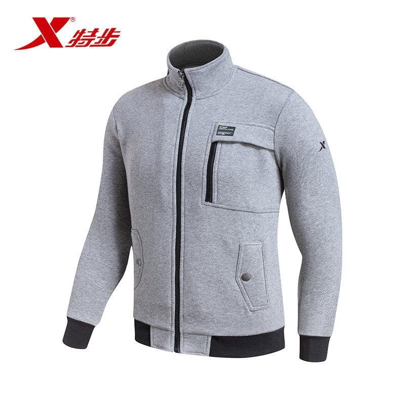 【品牌outlets】特步运动休外套闲针织衫秋季时尚男士拉链开衫