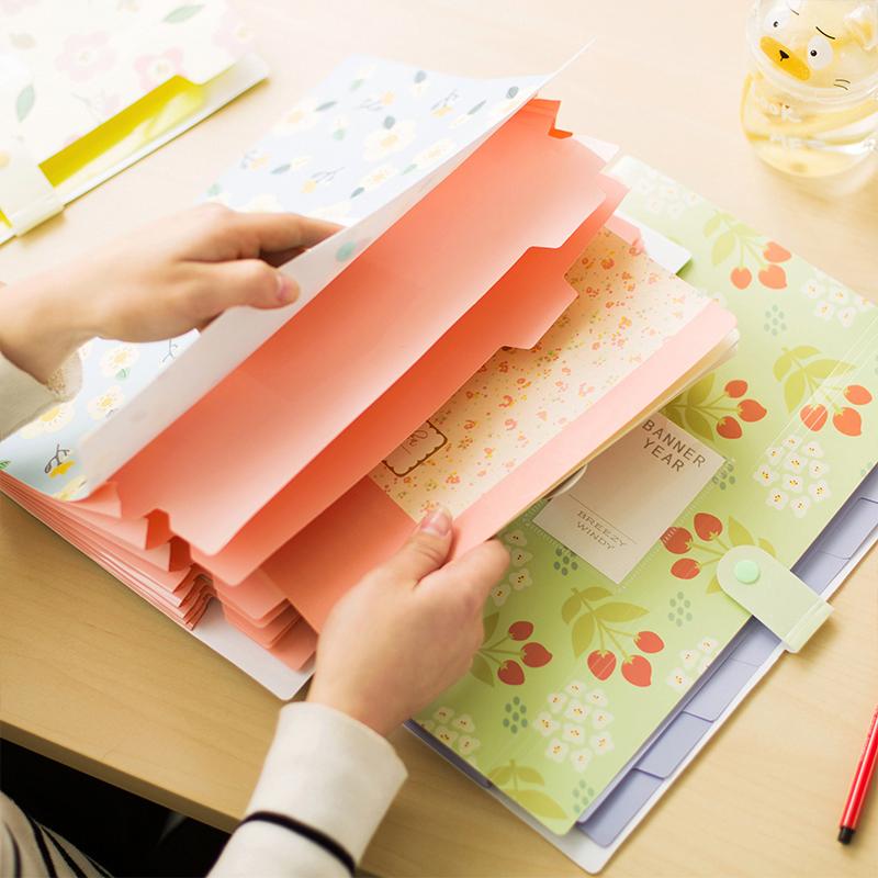 包邮韩国A4资料袋分页资料册学生资料试卷夹子办公插页多层文件夹