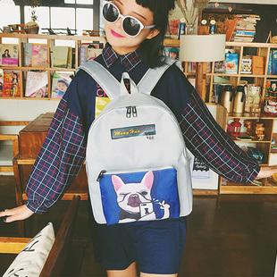 天天特价帆布双肩包女韩版ulzzang原宿韩国高中学生背包卡通书包