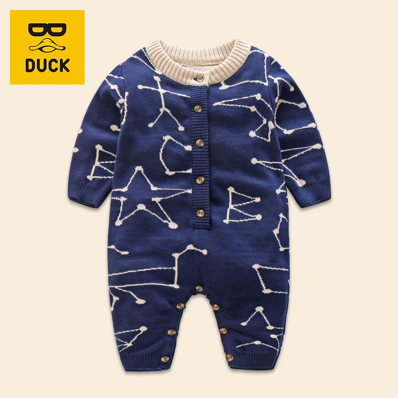 秋冬款童装男宝宝双层针织连体哈衣 婴儿纯棉几何连体衣可爱爬服
