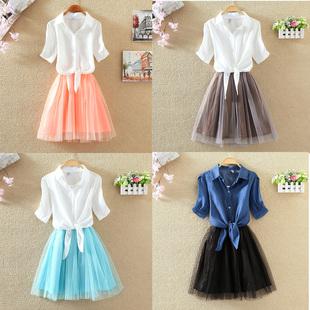 2017夏季新款韩版两件套中长款显瘦连衣裙时尚短袖学生套装裙子女