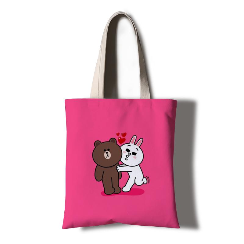 line friends布朗熊莎莉雞可妮兔帆布袋可愛動物環保購物袋手提袋