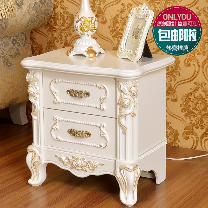 欧式床头柜简约现代卧室描金象牙白色床边柜法式斗柜