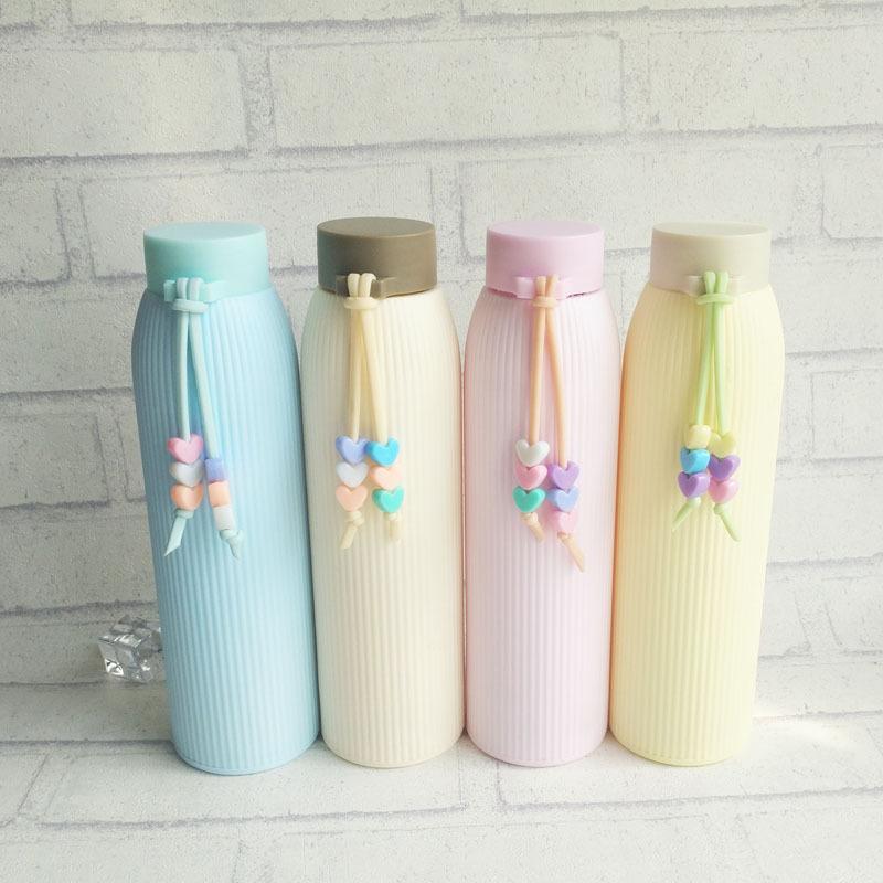 简约玻璃水杯随手便携杯子可爱小清新女学生韩版韩国茶杯纯色防漏
