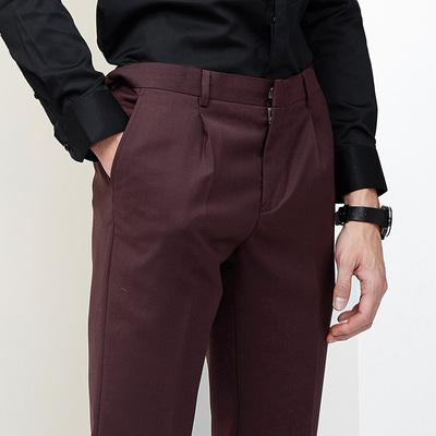 GXG西裤男士修身型 男西装裤子酒红色修身商务休闲西裤 53114041