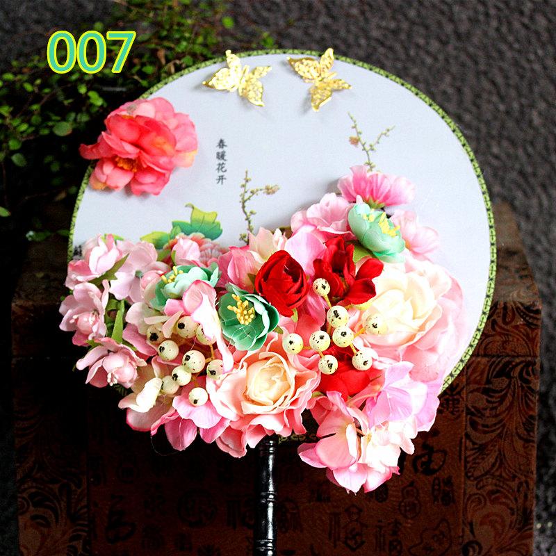 尹霞饰品中式新娘手捧花扇子手捧花古典圆扇配饰原创手工615图片