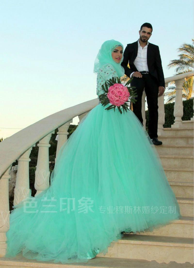 包邮新款穆斯林回族长袖婚纱礼服头纱头巾巴服马来服婚纱礼服2171图片