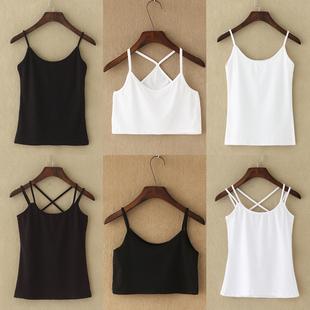 小吊带背心女夏性感棉质短款打底外穿内搭简约百搭黑色白色吊带衫