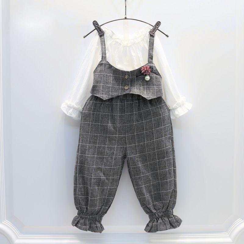 裤子女孩背带时尚套装 女童春季童装衬衫