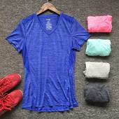 天天特价女子健身运动T恤吸汗排湿宽松大码速干瑜伽服上衣V领短袖