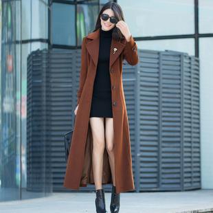 羊绒大衣女装冬季新款韩版毛呢外套女修身羊毛呢子超长款大衣过膝
