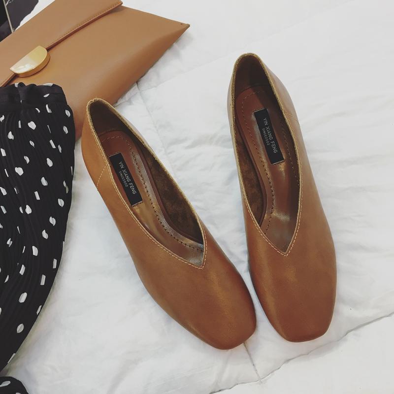 2017春季新款高跟鞋女鞋方头小皮鞋粗跟复古奶奶鞋中跟浅口单鞋潮