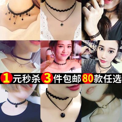 韩国版简约学生吊坠颈链颈带项圈女choker饰品脖子项链短款锁骨链