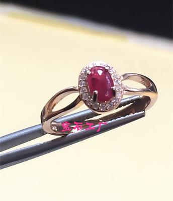 热卖 天然红宝石 925银镀玫瑰金戒指 彩色宝石戒指 贵重珠宝