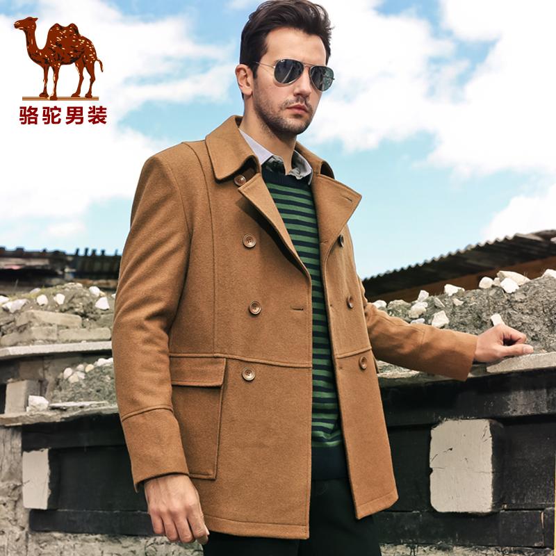 駱駝正品高端爸爸裝商務男士毛呢大衣冬季男裝中長款單排扣呢大衣圖片