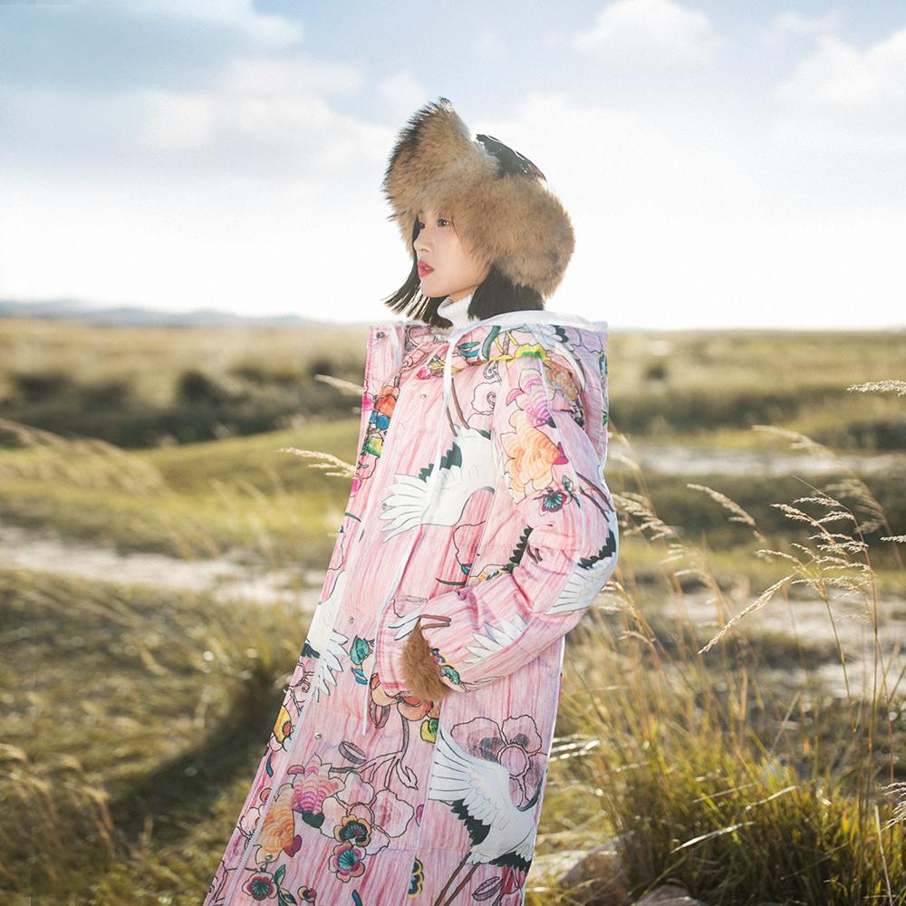 棉麻记2017冬装新款文艺防风保暖仙鹤印花外套白鸭绒长款羽绒服女