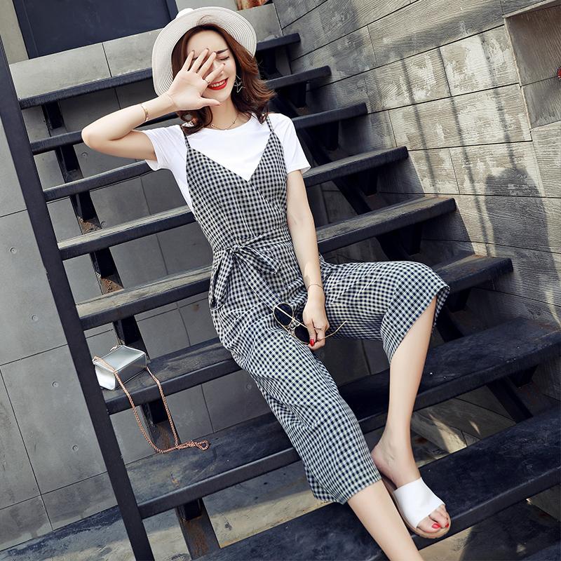 天天特价韩版千鸟格子吊带九分阔腿裤套装女学生T恤背带裤两件套