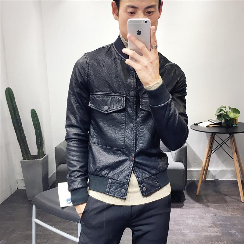 冬季新款男士棒球领内加薄绒皮衣短款单排扣韩版修身PU机车皮衣潮