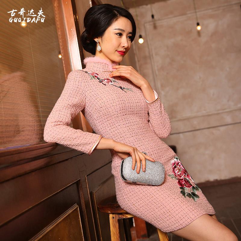 2017新款手工绣花羊毛呢旗袍复古中国风长袖中长款修身加厚连衣裙