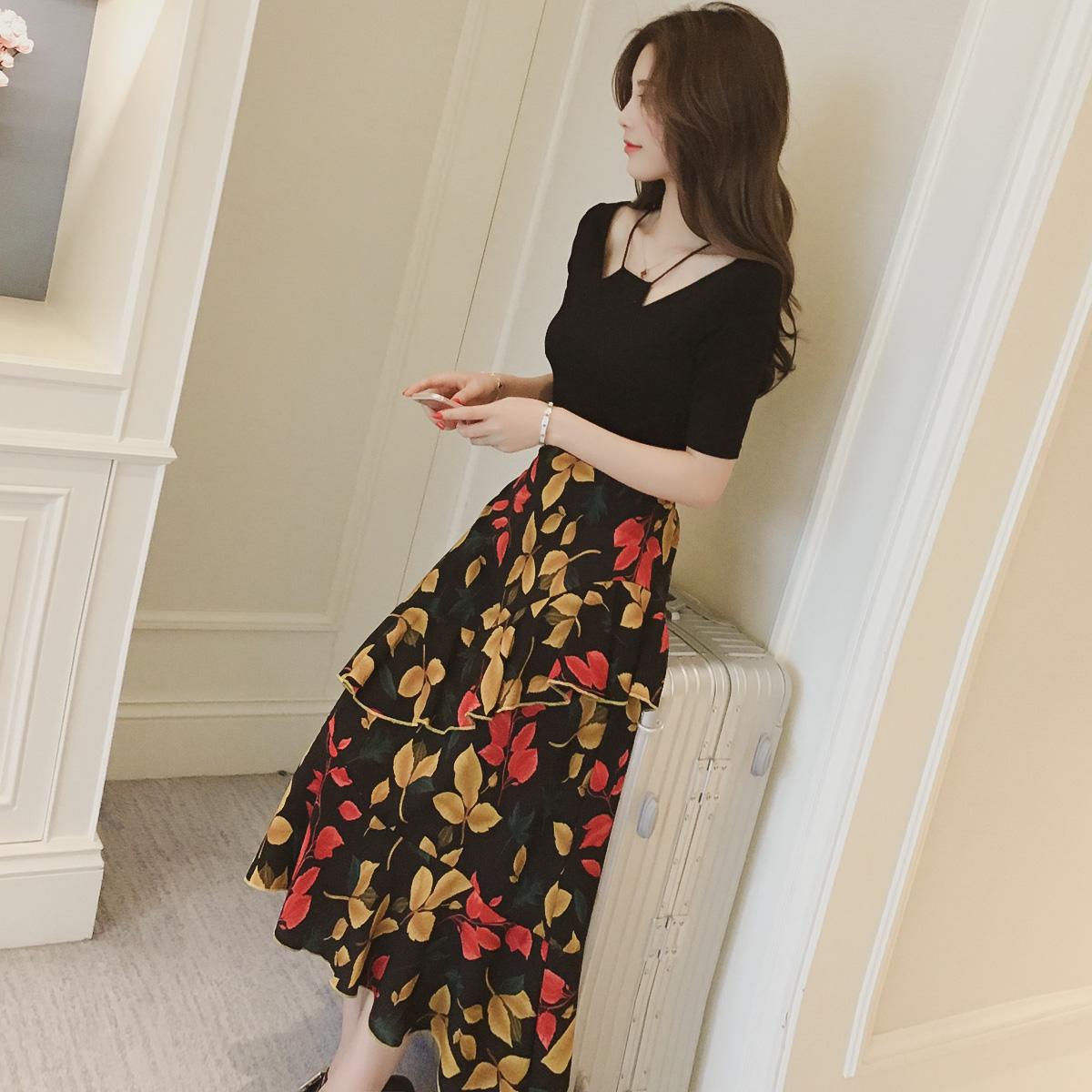 不規則連衣裙兩件套碎花短袖套裝春季半身長款