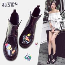 胶鞋 套鞋 中筒女士马丁雨靴保暖加绒低帮雨鞋 韩版 女生防滑水鞋 时尚