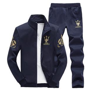 17新款秋冬男长袖大码运动套装青年韩版修身开衫立领休闲两件套潮