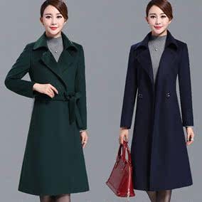 【天天特价】修身显瘦时尚女装长款过膝羊毛呢外套羊绒大衣女式