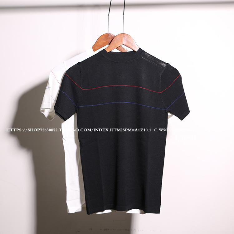 條紋夏季毛衣打底衫韓版男青年修身短袖針織