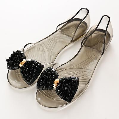 夏季蝴蝶结透明水晶果冻鞋鱼嘴凉鞋塑胶鞋平底串珠水钻女鞋沙滩鞋