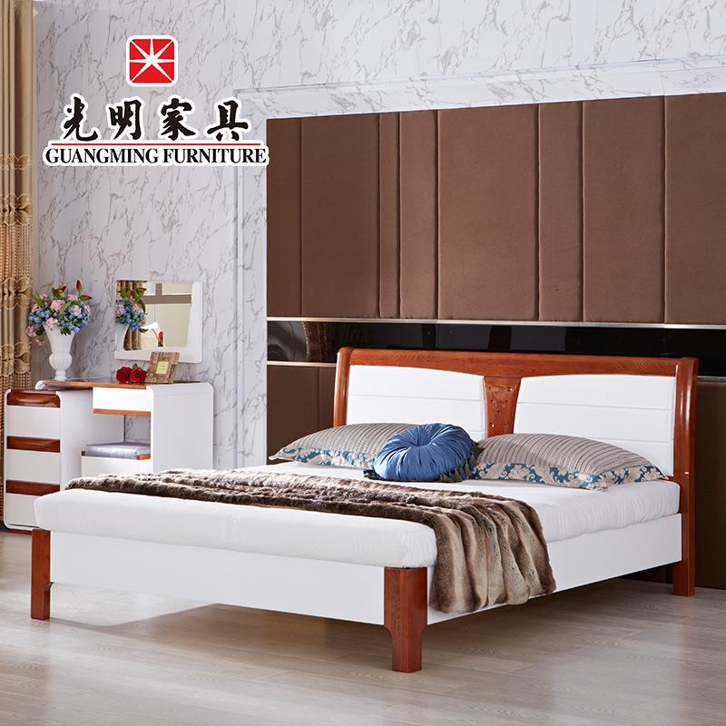 正品打折光明家具现代简约全实木床卧室家具自新旧喷漆家具翻图片