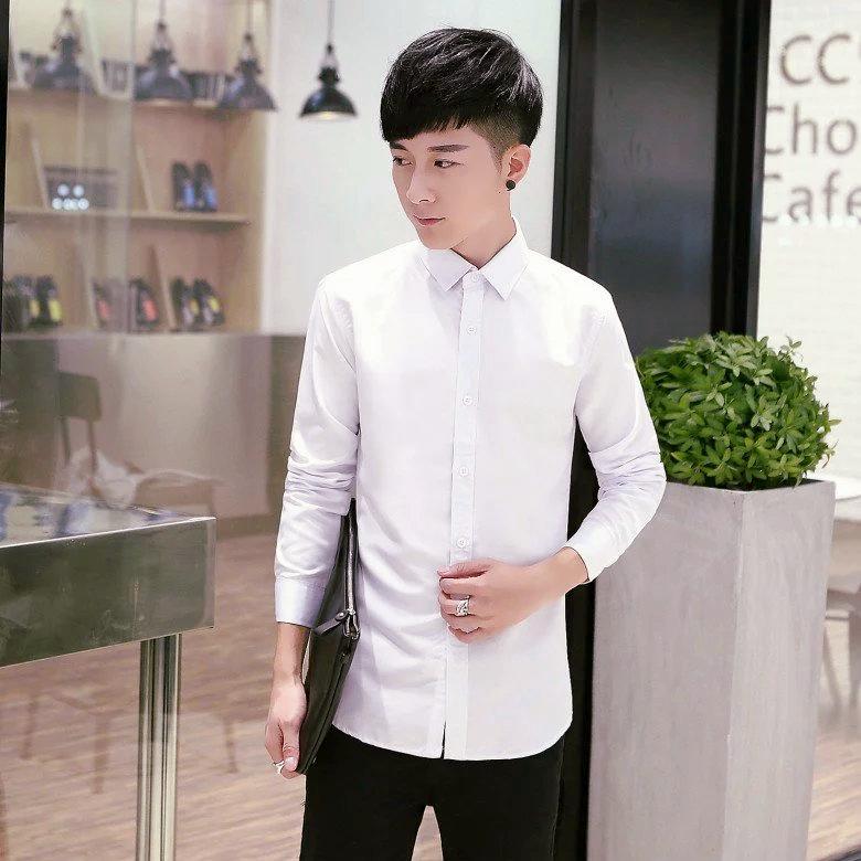 秋季男士纯色衬衫修身长袖衬衣寸韩版商务休闲职业正装白色男装潮